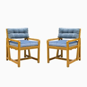 Art Deco Cubist Armchairs, 1940s, Set of 2