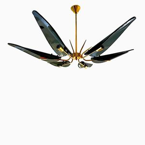 Chandelier with Glass Leaves & Gilt Frame, 1960s
