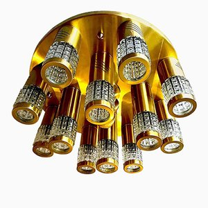 Ceiling Light in Murano Glass with a Gilt Frame by Gaetano Sciolari, 1960s