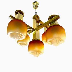 Chandelier by Gaetano Sciolari with Gold Mazzega Glass Shades, 1960s