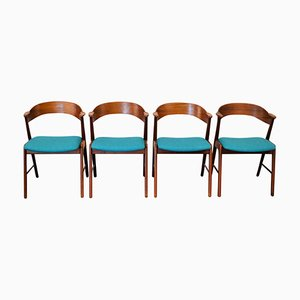 Vintage Teak Dining Chairs with Armrests by Kai Kristiansen for Korup Stølefabrik, Set of 4