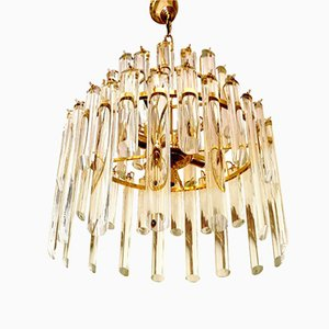 Chandelier with 50 Glass Pendants & Gilt Frame by Paolo Venini, 1960s