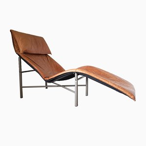 Swedish Leather Chaise Lounge by Tord Björklund for Ikea, 1970s