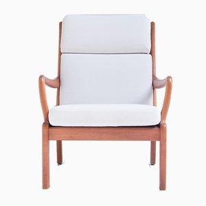 Chaise longue danesa blanca de L. Olsen & Son, años 60