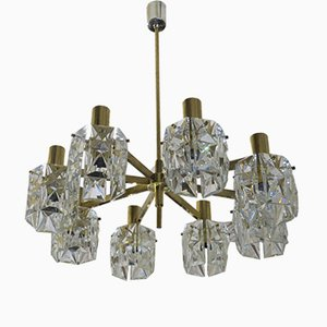 Mid-Century Faceted Glass and Brass Chandelier from Kinkeldey