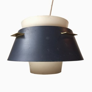Danish Modern Grey & White Pendant Lamp from Lyfa, 1960s