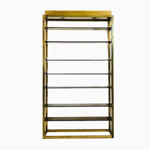 Italian Brass & Smoked Glass Shelving Unit, 1970s