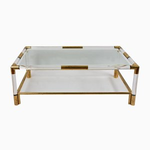 Coffee Table in Lucite & Brass, 1970s
