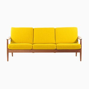 Yellow 3-Seater Teak Sofa by Arne Vodder for France & Søn