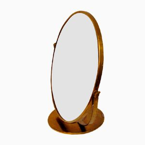 Vintage Circular Adjustable Brass Table Mirror