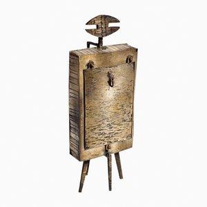 Reloj de mesa con figura metálica de Lorenzo Burchiellaro, años 60