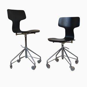 Chaises de Bureau Hammer' 3103 par Arne Jacobsen pour Fritz Hansen, 1950s, Set de 2