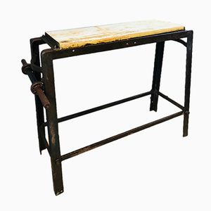 Small Vintage Workbench in Metal and Wood