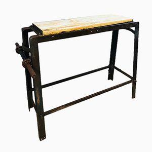 Tavolo da lavoro vintage in legno e metallo