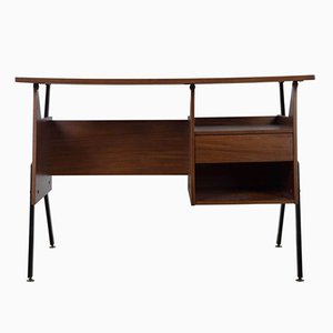 Italian Teak Angular Desk, 1960s