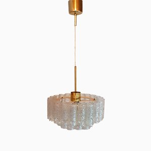 German Chandelier with Ice Glass Tubes from Doria, 1970s