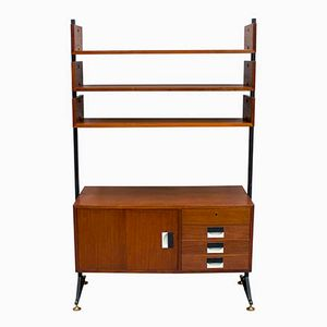Italian Teak Wall-Mountable Bookcase, 1950s