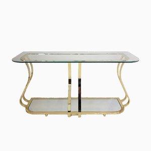 Mesa consola vintage de metal dorado curvado y espejo