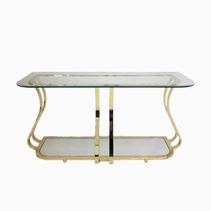 Vintage Console Table in Curved Gilded Metal & Mirror Glass