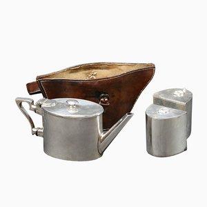Juego de tetera vintage con estuche de cuero, años 20
