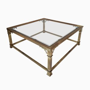 Large Brass & Glass Coffee Table from Mastercraft, 1970s