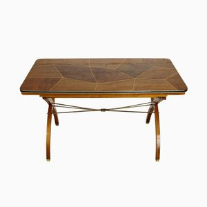 French Exendable Walnut Dining Table, 1950s