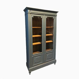 Vintage Grey Library Cabinet with Five Shelves