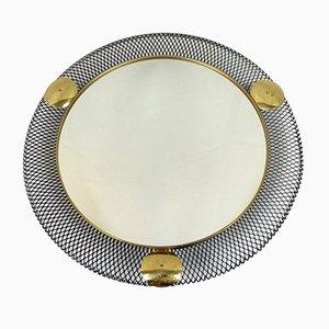 Espejo de pared con marcho de filigrana metálica, años 50