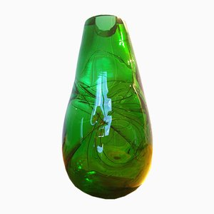 Grüne Glas Vase, 1970er