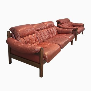 Swedish Leather and Teak Couches, 1970s, Set of 2