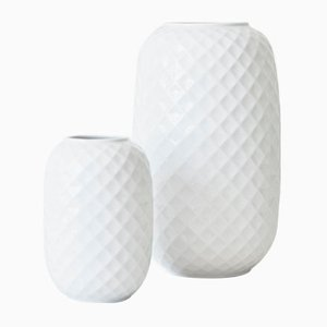 Holiday White Porcelain Vases by Thomas, Set of 2