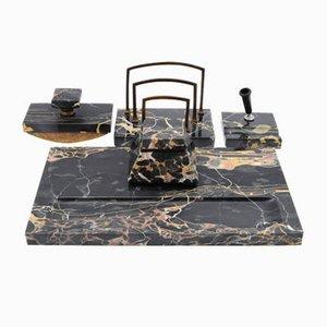 Juego de escritorio de mármol Portoro negro, años 20