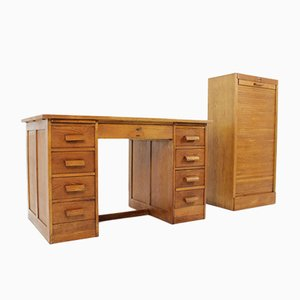 Art Deco Desk & Card File Cabinet from Thonet, 1930s