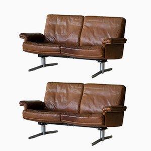 Vintage Modell DS 31 Leder 2-Sitzer Sofa von de Sede, 2er Set