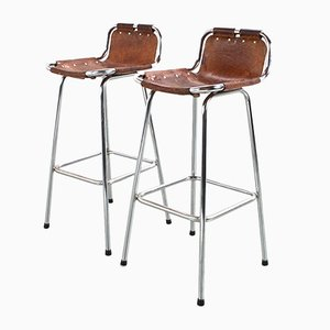 Mid-Century French Les Arcs Stools in Cognac Leather, 1960s, Set of 2