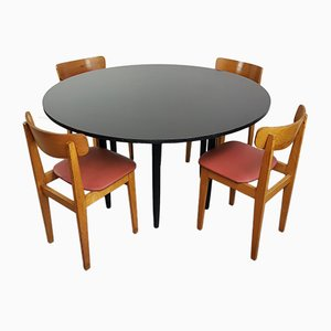 Vintage Round Black Table with 4 Chairs, 1960s
