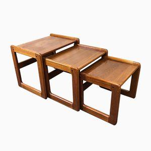 Vintage Danish Nesting Tables in Teak from Dyrlund