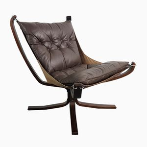 Vintage Leather Rosewood-Framed Low Back Falcon Chair by Sigurd Resell