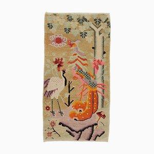 Mongolischer Vintage Baotou Teppich mit Bildmotiv