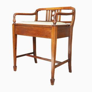 Edwardian Inlaid Mahogany Piano Stool