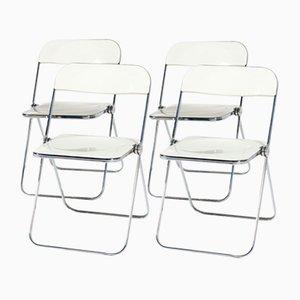 Plia White Folding Chairs by Giancarlo Piretti for Castelli, 1960s, Set of 4