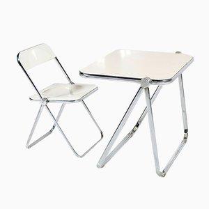Weißer Plia Stuhl und Schreibtisch von Giancarlo Piretti für Castelli, 1960er