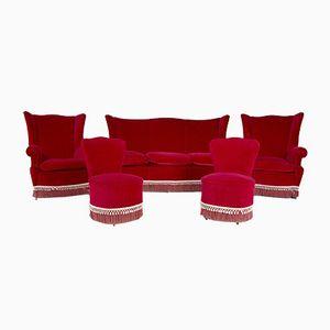 Italienisches Wohnzimmer Set in rotem Samt, 1950er
