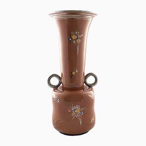Brown Lacquered Terracotta Deruta Vase, 1940s