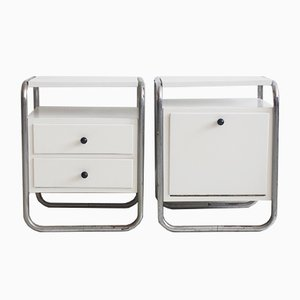 Mid-Century White Painted Side Tables with Tubular Steel Frames, Set of 2