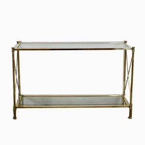 French Two-Tier Console Table in Brass, 1970s