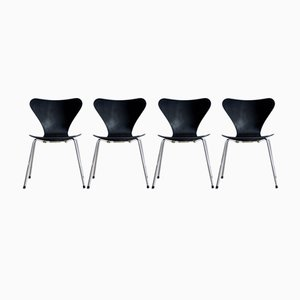 Mid-Century 3107 Chairs by Arne Jacobsen for Fritz Hansen, Set of 4