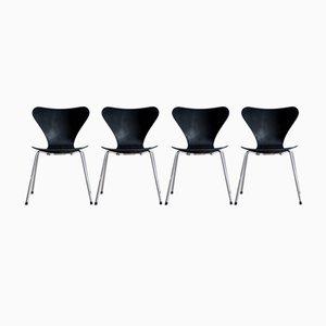 Mid-Century 3107 Stühle von Arne Jacobsen für Fritz Hansen, 4er Set