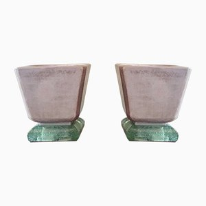 Lampes de Bureau Mortier Art Déco Vintage en Céramique et Verre de Saint Gobain, Set de 2
