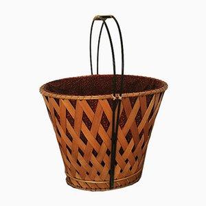 Swedish Laundry Basket with Fabric Insert, 1950s